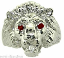 Mens Ring Lion Head Diamond & Ruby in Sterling Silver or Gold Plated Silver