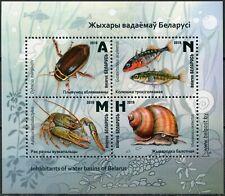 Belarus, Water Fauna,  Fish, 2019, 4 stamps + block