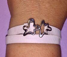 🛍NEW🛍GEORG JENSEN #429 White Wrap BRACELET+NECKLET+PENDANT. Leather/Silver 925