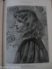 Henry Ryland Art Artist Antique Rare Engraving Drawing Book Plate Rosamunda 1899