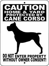 """Cane Corso Dog Sign,Guard Dog,Aluminum Sign 12"""" x 9"""",Security,Gate,H2496Hyc cblk"""