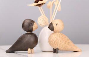 Pair of Super Cute Quality Lark Love Birds - European White Oak - Ornaments
