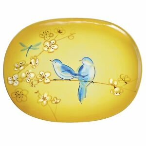 Grasslands Road Petals Large Hand Painted Blue Bird Platter with Stand