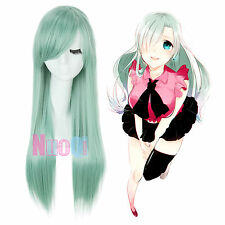 Envío a EE. UU. Elizabeth Liones los siete pecados capitales largo recto peluca cosplay verde