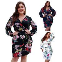 Plus Size Elegant Dress Women Bohemian Floral Print Dress High Waist Wrap BQ9A4