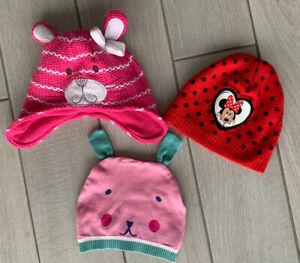 3 x Girls Beanie Hats - Disney Minnie Mouse - Bear Hats - Size 4+ Years