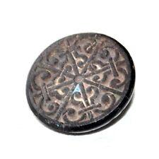 Beau bouton ancien en verre ou jais noir arabesque 14mm button