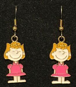 SALLY Earrings Stainless Hook New Peanuts Snoopy Charlie Brown Sister Linus