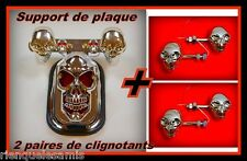 Support de plaque Chrome + 2 paires de clignotants Skull Yeux diode moto custom