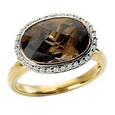 NEW LADIES 14k YELLOW GOLD DIAMOND OVAL CHECKERED SMOKY QUARTZ HALO RING