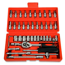 46 pcs Socket Ratchet Screwdriver Wrench Set 1/4 Drive Flexible Car Repair Tool