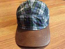 Polo Ralph Lauren brown leather bill plaid Tartan baseball hat cap green pony