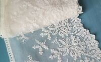 """Antique French Tambour Net Lace Trim Floral 5""""Wide x4Yards Bridal Gown Wedding"""