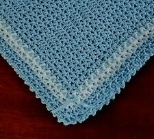 NEW Blue Cuddly Soft Beautiful Crocheted Baby Afghan Blanket w/ ribbon & bows