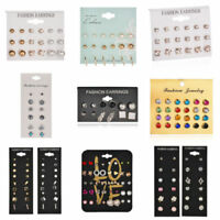24 Pairs Fashion Rhinestone Crystal Pearl Earrings Set Women`s Ear Stud Jewelry