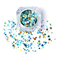 Nail Art Ultrathin Sequins Round Glitters Manicure Decoration Colorful Blue #01