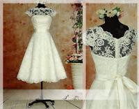 Cap Sleeve Lace Short White/Ivory Wedding Dress Bridal Gown stock Size