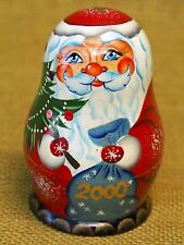 """FATHER FROST Matryoshka Doll Russian SANTA CLAUS Carved Wood 4.5"""" Handpainted"""