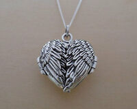 """925 Sterling Silver HEART Locket Opening Angel Wings Pendant and 18"""" Curb Chain"""