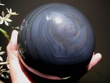 A*2280g Natural Black Obsidian Crystal Rainbow Sphere Ball Healing 051308