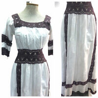 Vintage VTG 1970s 70s White Purple Pintucked Pintuck Lace Maxi Dress