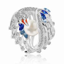 Vintage Pearl Silver Blue Topaz Bird Animal Fashion Women Ring Size 6-10 UK