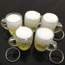 1X Mini Lovely Cup KeychainResin Beer Car Key Ring Beer Glass Pendant Gift New