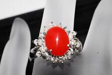 [GENUINE NATURAL CORAL] 1.8ct Red coral ring Diamond with 0.56ct pt900 Japan *08