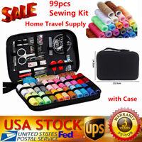 Travel Sewing Kit Thread Threader Needle Tape Storage Bag Scissor Thimble Set US
