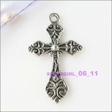 4Pcs Tibetan Silver Tone Flower Cross Charms Pendants 19x31.5mm