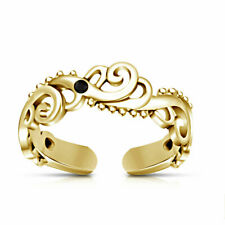 Adjustable Wave Midi Toe Ring 14K Yellow Gold Over Black Diamond Fashion Jewelry