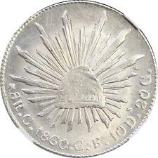 Mexico 8 Reales C 1860 C.E. Culiacan, NGC AU Details (Clenaed) KM# 377.3