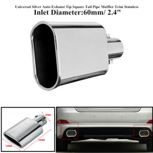 """Stainless Steel Car Exhaust Pipe 60mm/2.4"""" Durable Auto Muffler Square Tail Pipe"""