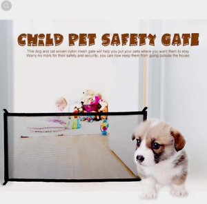 Baby Pets Dog Cat  Gate  Mesh Fence Home Portable Guard Indoor Black 180*72cm