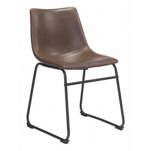 Open Box ZUO Modern 2 PK Smart Dining Chair, Vintage Espresso Leatherette Fabric