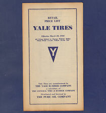1933 YALE TIRE RETAIL PRICE LIST