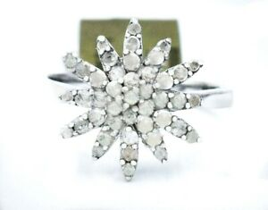 GENUINE 0.80 Cts DIAMONDS SNOWFLAKE LADIES RING .925 Silver* NEW WITH TAG *