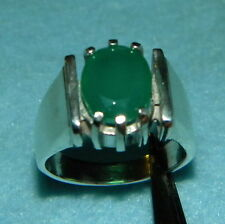 9 solid Sterling Silver .925 Green Chrysoprase Mens ring Size