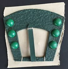 Vintage Dress Buckles - Large Green Art Deco Buckle -  Czech made - 1940's