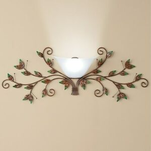 Cordless Bronze Metal Leaves Wall Sconce Lamp with Remote Control