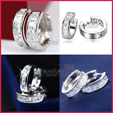 18K WHITE GOLD GF SIMULATED DIAMOND SOLID MENS WOMENS HOOP SLEEPER EARRINGS GIFT