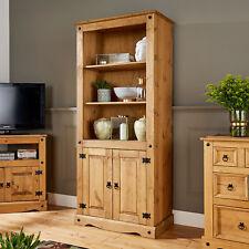 Corona Pine Bookcase 2 Door Display Cupboard 3 Book Shelves Distressed Wax Pine