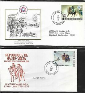 BURKINA FASO 1976 2 DIFFERENT FIRST DAY COVERS AMERICAN BICENTENNIAL INTERPHIL