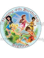 19cm Round Tinkerbell & Friends Edible ICING Cake Topper
