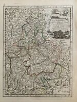 1743 BAVARIA GERMANY Hand Coloured Map By Le Rouge Over 275 Years Old