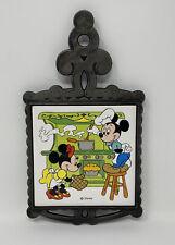 Vintage Disney Mickey Minnie Mouse Cast Iron Trivet Footed Japan