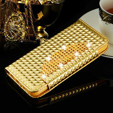 Magnetic Bling Crystal Diamond Flip Wallet Case Cover For Samsung iPhone Phones