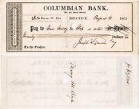 CIVIL WAR Harvard ABOLITIONIST Joseph Lyman Signed 1864 Check