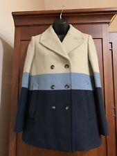 Tory Burch Women's  Double Breasted Striped Pea Coat 0