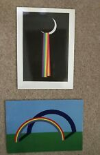 Patrick Hughes  2 Collectible Postcards 'Over The Moon' + 'Shadow of a Rainbow'